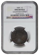 US 1949 LARGE CENT BRAID HAIR NGC Grade FINE DETAILS COUNTER STAMIPED
