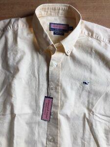 Vineyard Vines Mens M Whale Shirt Button Dwn Pale Yellow Men's Medium nwt