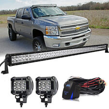 """50inch Straight LED Light Bar + 4"""" Fog Lamps Kit Fit for GMC/Chevy Silverado 50"""""""