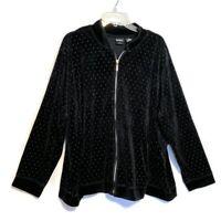 Erika Woman Plus Size 3X Black and White Polka Dot Velour Zip Up Jacket