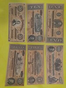 Lot of 6 US confederate banknote  facsimile bills 1864 $100, $50,$ 20, $10 $5 $1
