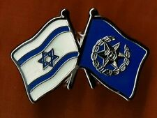 ISRAEL  POLICE FLAG WITH NATIONAL FLAG PIN