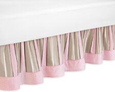 Sweet Jojo Designs Toddler Bed Skirt for Pink and Brown Mod Dots Kid Bedding Set