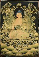 90CM Tibet Cloth Silk Buddhism Shakyamuni Amitabha Buddha Thangka Tangka Mural