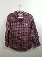 Eddie Bauer Mens XS Shirt Long Sleeve Button Down Shirt Plaid Red White Blue
