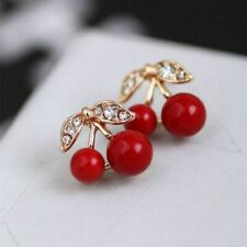 Cherry Crystal Gold Stud Earrings Retro Vintage Rockabilly 1950 Kitsch Cute UK