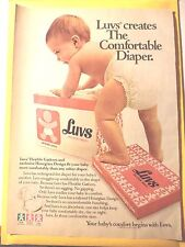 LUVS DIAPER BABY CUTE BOY Magazine AD 1980 VINTAGE 1980'S  FREE SHIPPING