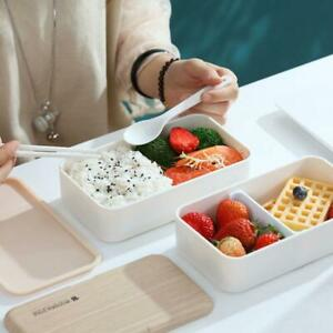 Microwave Lunch Box Japanese Wood Bento Box 2 Layer Container Kitchen D2J0