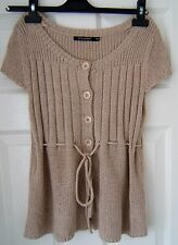 *ATMOSPHERE PRIMARK SHORT SLEEVED BEIGE/ECRU JUMPER TOP BUTTONS TIE DETAIL*