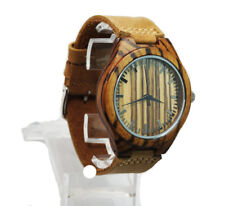 Natural Zebra style Wooden Case Quartz Wristwatch Leather Band Men's Dress watch