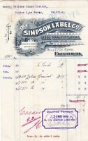 The Simpson Label Company 1906 Logo Bellevue Road Edinburgh Paid Receipt Rf40645