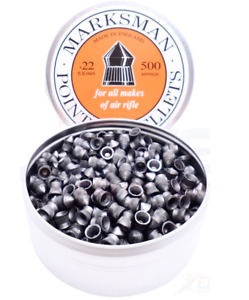 500 X Marksman .22 / 5.5mm Pointed Points Lead Air Pellets - Full Tin