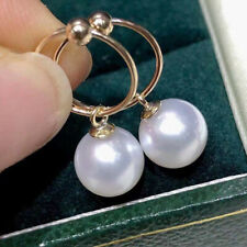 Fashion  AAA+ 8-9mm real natural akoya white round pearl earring 14k gold nice
