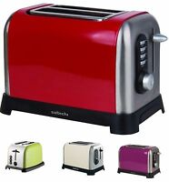 ELECTRIC LARGE 2 SLICE TOASTER STEEL REMOVABLE TRAY AUTO OFF LIGHT RED CREAM