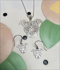 Sugar Skull Pit Bull Silver Charm Necklace & Earrings Set - New - FREE SHIPPING