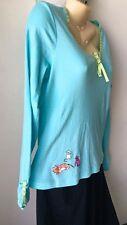 Hue Kitty Cat Cats Pajamas PJ Set Size Medium M Pants Large L Top Blue Dots