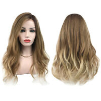 Women Long Curly Wavy Brown Ombre Wig Cosplay Pop Party Full Wigs Synthetic Hair