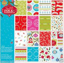 "Papermania 32 Hoja Pack Lino Papel Scrapbooking 12x12"" 160gm Folk Navidad"