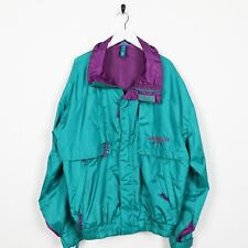 Vintage 90s ABSTRACT Zip Up Soft Shell Windbreaker Jacket Green 2XL