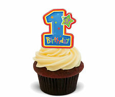1st Birthday Boy - Blue Edible Cupcake Toppers, Stand-up Fairy Cake Decorations