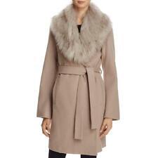 T Tahari Flora Women's Faux Fur Collar Wool Blend Wrap Coat