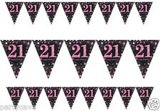 21ST BIRTHDAY PARTY PENNANT FLAG BANNER PINK & BLACK 18 BUNTING DECORATION