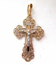 Orthodox Slavic Cross Pendant Red Gold 585 solid #a150