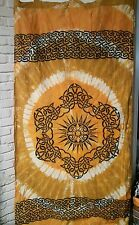 """Yellow & Gold Dyed CELTIC SUN DESIGN CURTAIN about 40"""" x 78"""""""