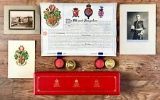 Cased Grant of Arms Major Oxley-Ingham Augill Castle Westmorland, Photos Artwork