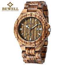 Bewell Wood Watches Mens Wooden Watch Analog Date Display Bracelet Quartz Watch