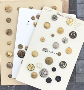 3 INTERESTING CARDS OF 80 ANTIQUE ANCHOR ASSORTED MATERIAL BUTTONS