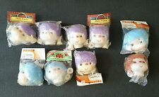 Doll Heads Lot with Hands Yarn Hair Darice Primo 3.5 inch Plastic Purple Blue