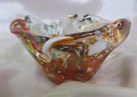 VINTAGE MASSIVE ITALIAN MURANO AMBER COLOR CRYSTAL GLASS ART DECORATIVE BOWL