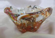 Vintage Massive Italian Murano Amber Color Crystal Glass Art Decorative Bowl