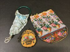 Set 3 Art Deco Glass Beaded Purse/Bags As Is