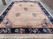 Antique Hand Made Art Deco Chinese Carpet Beige Gold Wool Large Carpet 400x300cm