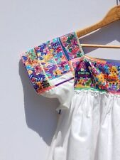 VINTAGE MEXICAN TOP~Rare White Cotton Cross Stitching Mexican Oaxacan Art Item