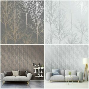 Holden Decor Rhea Trees Wallpaper - Warm Grey  - Silver - Statement Feature Wall