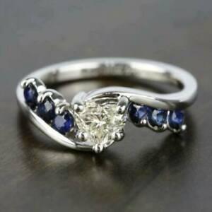 14K White Gold Heart Shape Engagement & Wedding Bypass Ring 1.4 Ct VVS1 Diamond