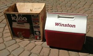 Vintage 15 Quart Igloo Cooler Winston Cigarettes Advertising with box NASCAR