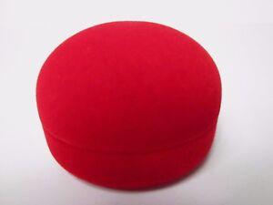 Luxury Red Velvet Round Earrings Gift Box-Black Silky Llnings Inside-  SS1.2R/B