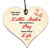 #818 LITTLE SISTER Big Part of My Life Wood Hanging Heart Wood Sign Birthday
