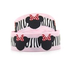 1 METRE PINK ZEBRA PRINT MINNIE MOUSE RIBBON SIZE 7/8 HEADBANDS HAIR BOWS CRAFTS