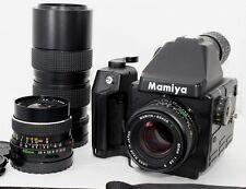 NEAR MINT Mamiya 645E w/SEKOR C 80mm,55mm,105-210mm 3 Lens,Strap,Grip from Japan