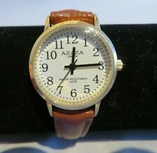 Ladies, Watch White Face Gold Case & Brown Strap & Easy Read Numbers by Azaza