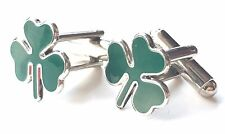 Ireland Shamrock Enamel Crested Cufflinks (N45) Gift Boxed