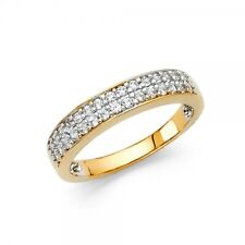 Real Solid Yellow Gold 14K 3.5mm Cubic Zirconia Ladies Wedding Band 3.5grams