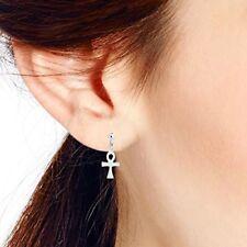 925 Sterling Silver The Key Of Nile Egyptian Ankh Cross Post Dangle Earrings