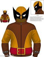 Wolverine Brown Wolf Costume Marvel Zip up Eye Holes Hoodie Jacket Shirt S Small
