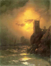 Oil painting Ivan Constantinovich Aivazovsky - Tower Shipwreck Sunset Seascape